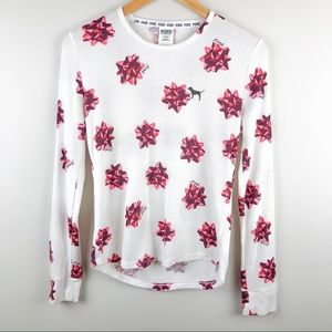PINK Victoria's Secret Holiday Bow Waffle Thermal